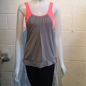 Lululemon orange & grey Run Times Tank sz 4 60123